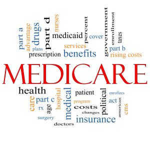 Medicare Word Cloud Concept with great terms such as health, care, advantage, hospital, tax, enrollment, part d