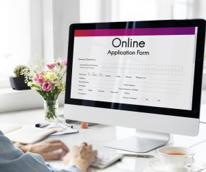 Online application form on a computer screen