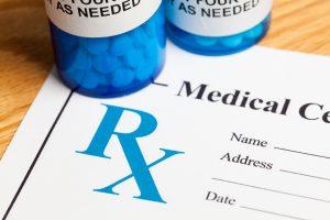 Rx blue pill bottles