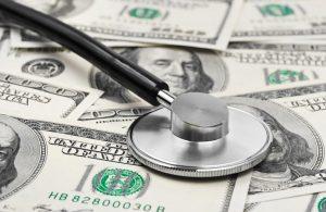 stethoscope money background